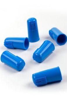 blå tandborste till hund att sätta på fingret