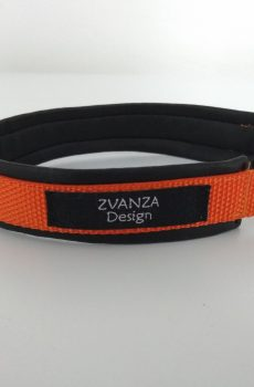 halvstryp halsband i orange nylon med foder i svart fusk skinn