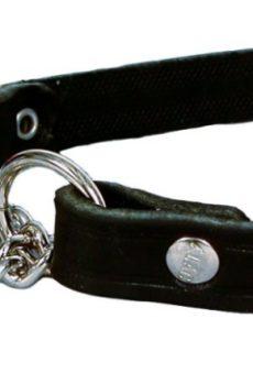 halvstryp halsband i läder med kjedje länk till hund