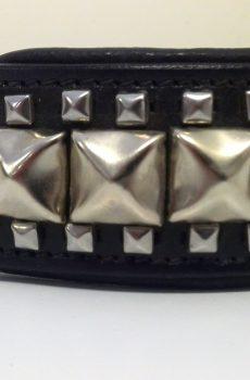 hundhalsban i svart skinn med silver nitar