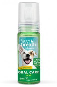 tropiclean fresh breath oral care foam munskum för hund som ger hunden fräsch andedräkt utan att behöva borsta tänderna