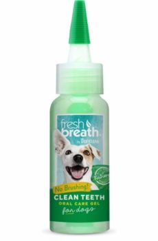 tropiclean fresh breath clean teeth tandgel för hund som reducerar plack och tandsten på hund utan att behöva borsta tänderna
